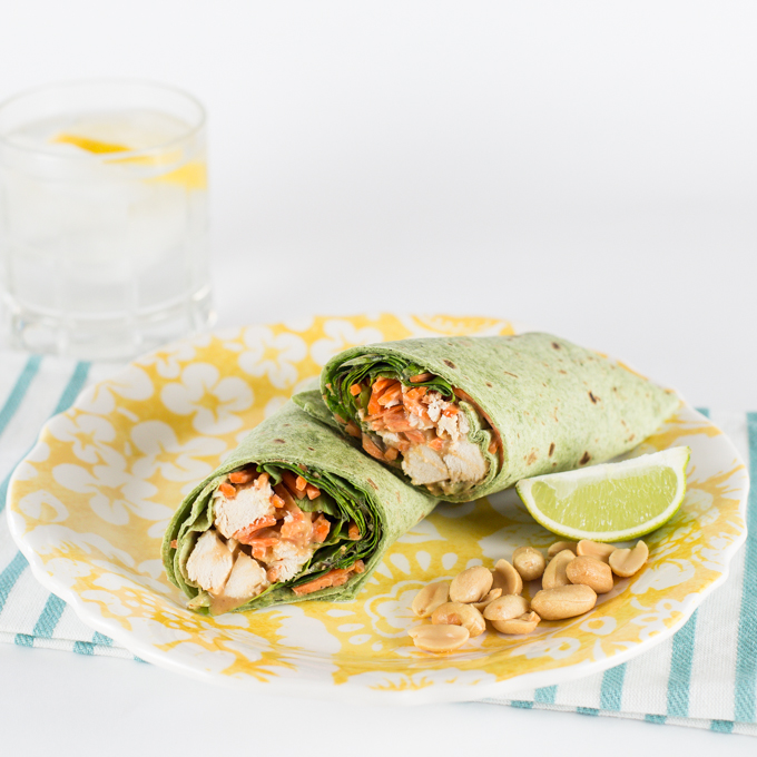 Thai Peanut Chicken Wraps