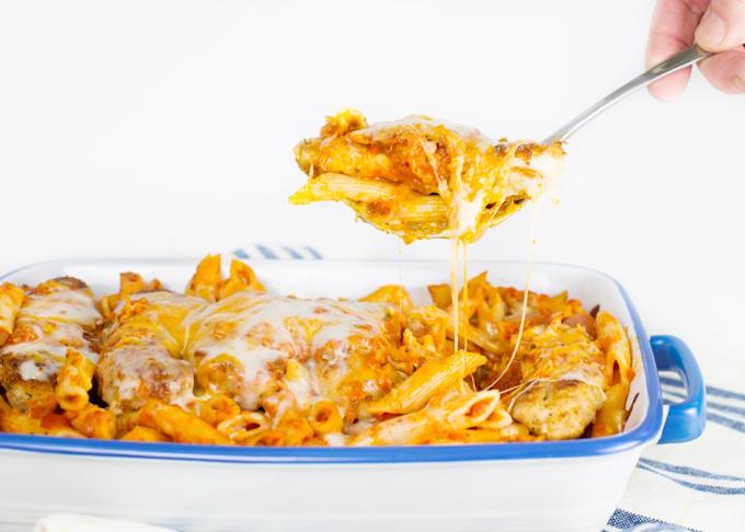 Chicken Parmesan W Penne Pasta