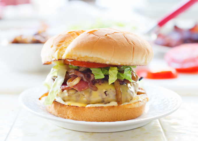 DaBomb Burger with Balsamic Onions