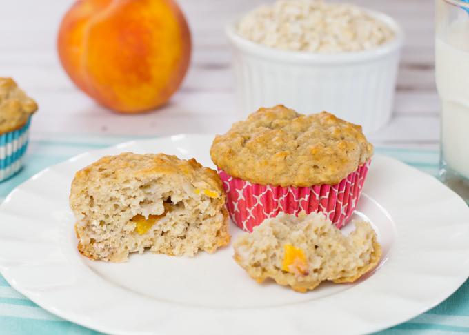 Oatmeal Peach Muffins