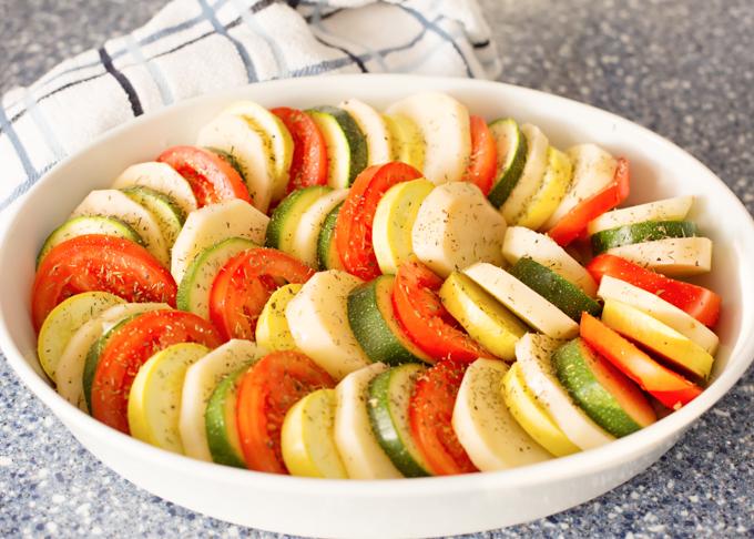 Potato, Tomato, and Squash Bake