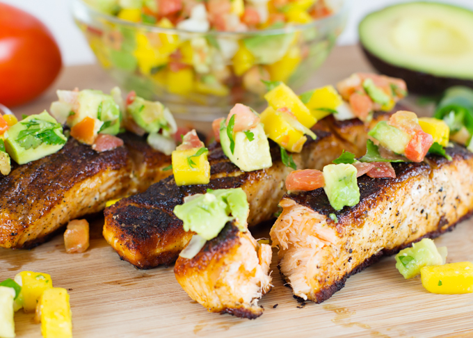 Blackened Salmon w-Mango Avocado Salsa-2