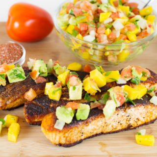 Blackened Salmon w/Mango Avocado Salsa