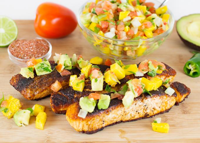 Blackened Salmon w/Mango Avocado Salsa
