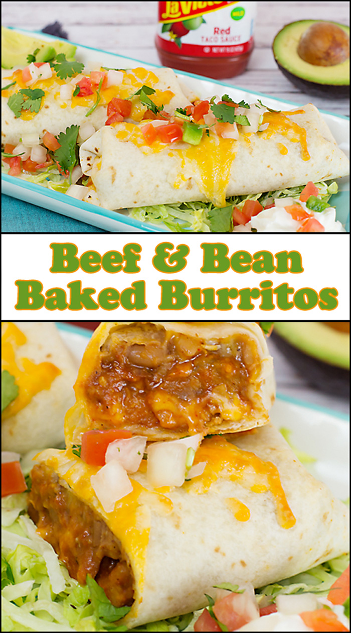 Beef & Bean Baked Burritos