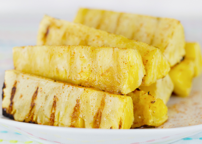 Grilled Pineapple w/honey & cayenne