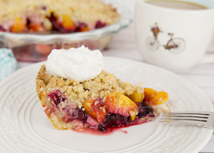 Blackberry Peach Crumb Pie-
