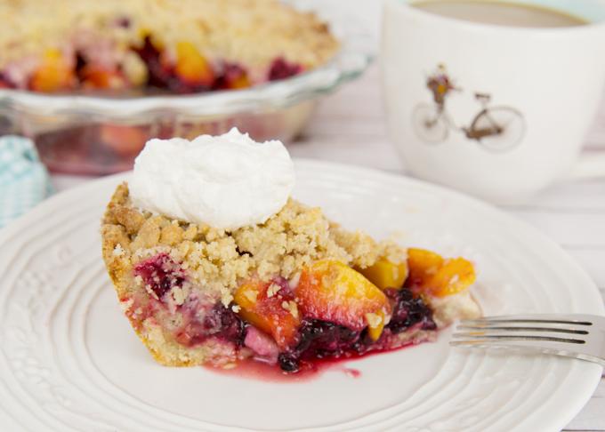 Blackberry Peach Crumb Pie-