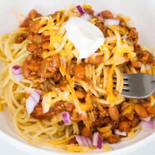 Turkey Chili Spaghetti