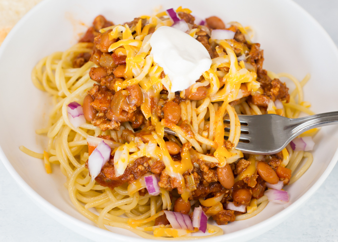 Turkey Chili Spaghetti