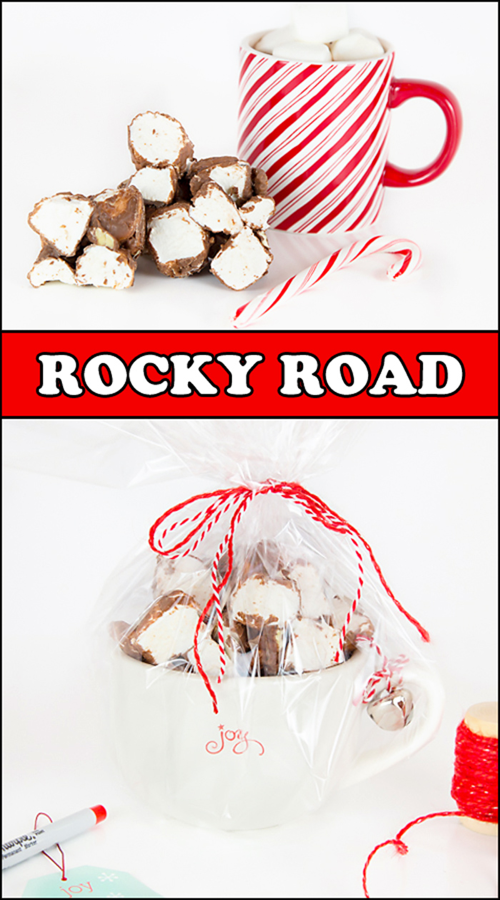 Rocky Road is a delicious Christmas treat that even Santa loves! It makes a great gift for teachers, co-workers, friends, and neighbors. Christmas | candy | chocolate | marshmallows | christmas treats | holiday baking