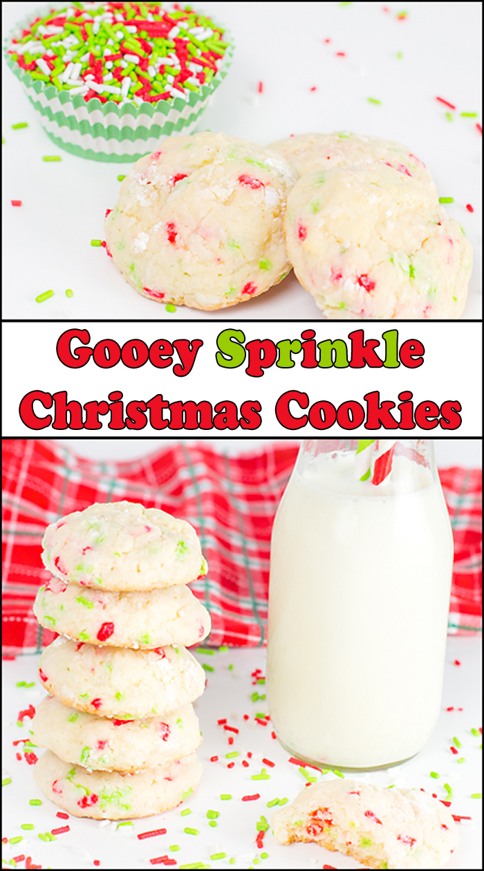 Gooey Sprinkle Christmas Cookiesare a light and buttery cookie filled with colorful red and green sprinkles. Even the Grinch loves these cookies.