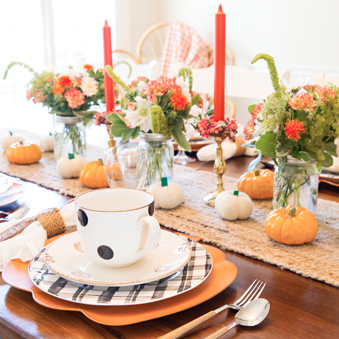 Pumpkin Floral Fall Tablescape