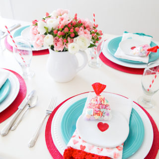 Red & Aqua Valentine's Tablescape