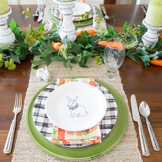 Carrot and Bunny Easter Tablescape