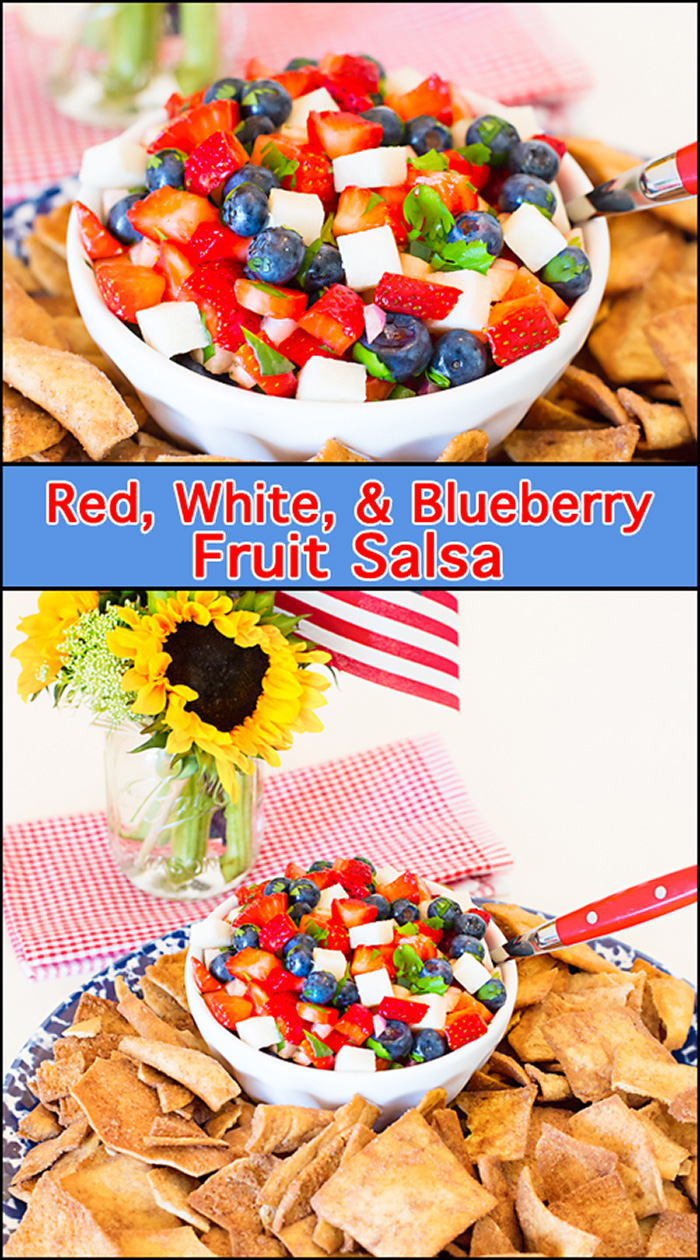 "Cinnamon Sugar Pita Chips are the perfect ""dipper"" for this fresh Red, White, & Blueberry Fruit Salsa!!"