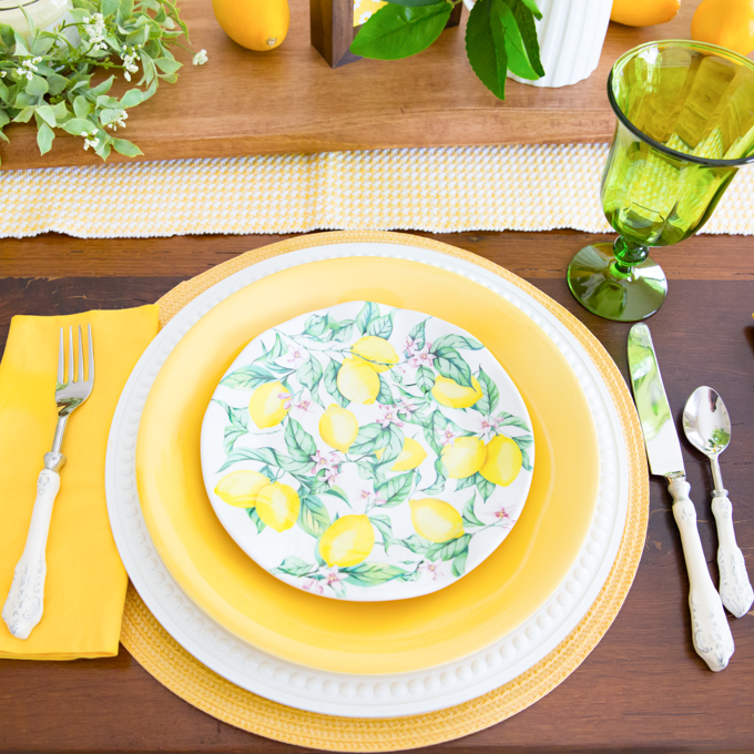 Lemon Themed Tablescape
